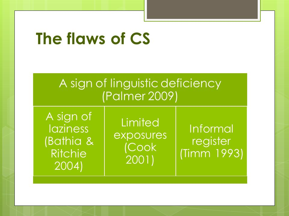 The flaws of CS A sign of linguistic deficiency (Palmer 2009) A sign of laziness (Bathia & Ritchie 2004) Limited exposures (Cook 2001) Informal register (Timm 1993)