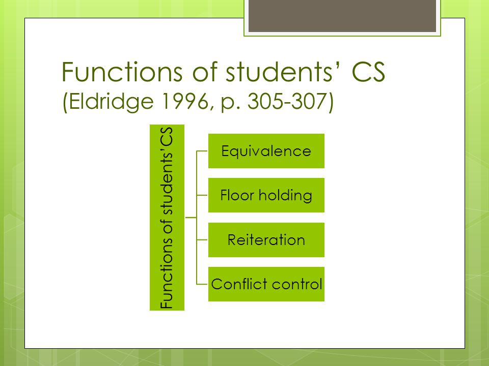 Functions of students' CS (Eldridge 1996, p.