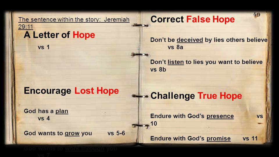 A Letter of Hope vs 1 Encourage Lost Hope God has a plan vs 4 God wants to grow youvs 5-6 God wants to work through you vs 7 Correct False Hope Don't be deceived by lies others believe vs 8a Don't listen to lies you want to believe vs 8b Challenge True Hope Endure with God's presence vs 10 Endure with God's promise vs 11 The sentence within the story: Jeremiah 29:11