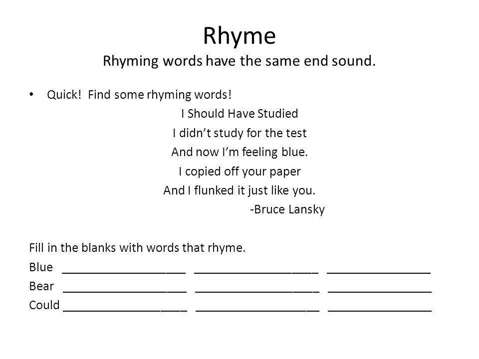 Printables Poem Rhyming Words words for poems that rhyme scalien scalien
