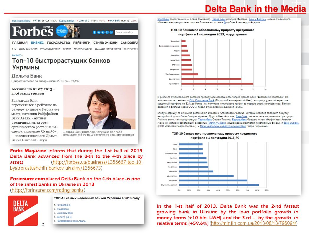 A4 FORMAT Please don't change page set up to A3, print to A3 paper and fit to scale SUK001BJ1 v2 Delta Bank in the Media Delta Bank in the Media 2 Forbs Magazine informs that during the 1-st half of 2013 Delta Bank advanced from the 8-th to the 4-th place by assets (http://forbes.ua/business/1356667-top-10- bystrorastushchih-bankov-ukrainy/1356673)http://forbes.ua/business/1356667-top-10- bystrorastushchih-bankov-ukrainy/1356673 In the 1-st half of 2013, Delta Bank was the 2-nd fastest growing bank in Ukraine by the loan portfolio growth in money terms (+10 bln.