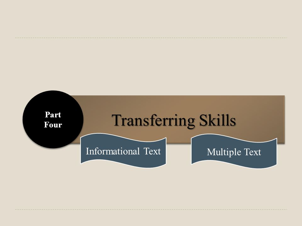 Transferring Skills Part Four Part Four Informational Text Multiple Text
