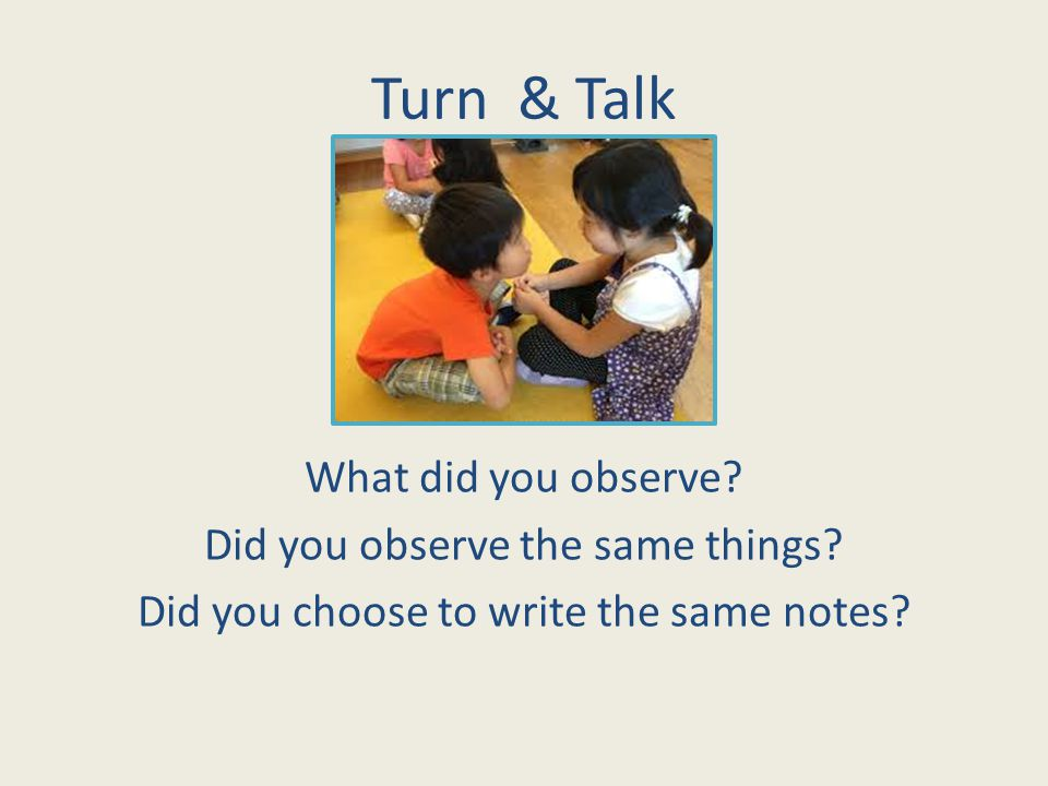 Turn & Talk What did you observe. Did you observe the same things.