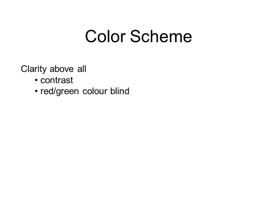 Color Scheme Clarity above all contrast red/green colour blind