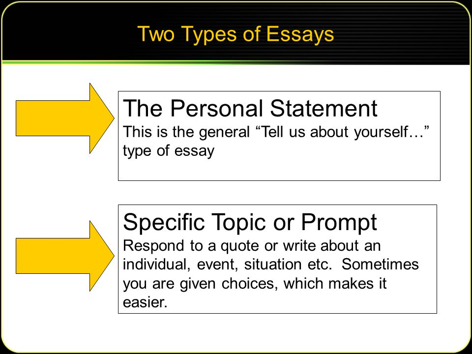 Two Types of Essays The Personal Statement This is the general Tell us about yourself… type of essay Specific Topic or Prompt Respond to a quote or write about an individual, event, situation etc.