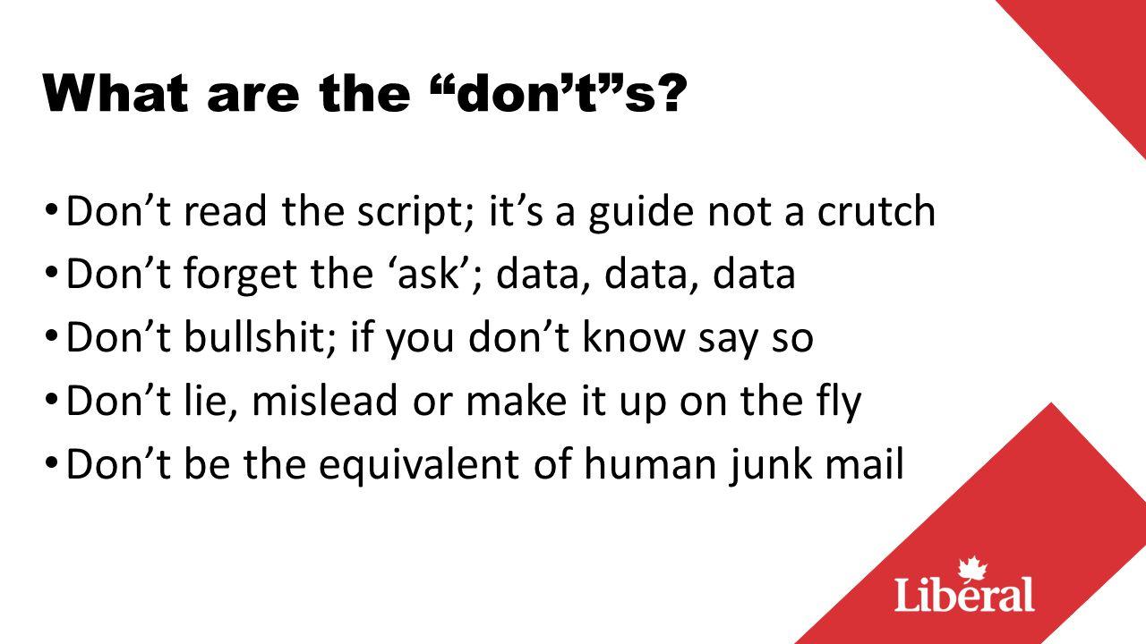 What are the don't s.
