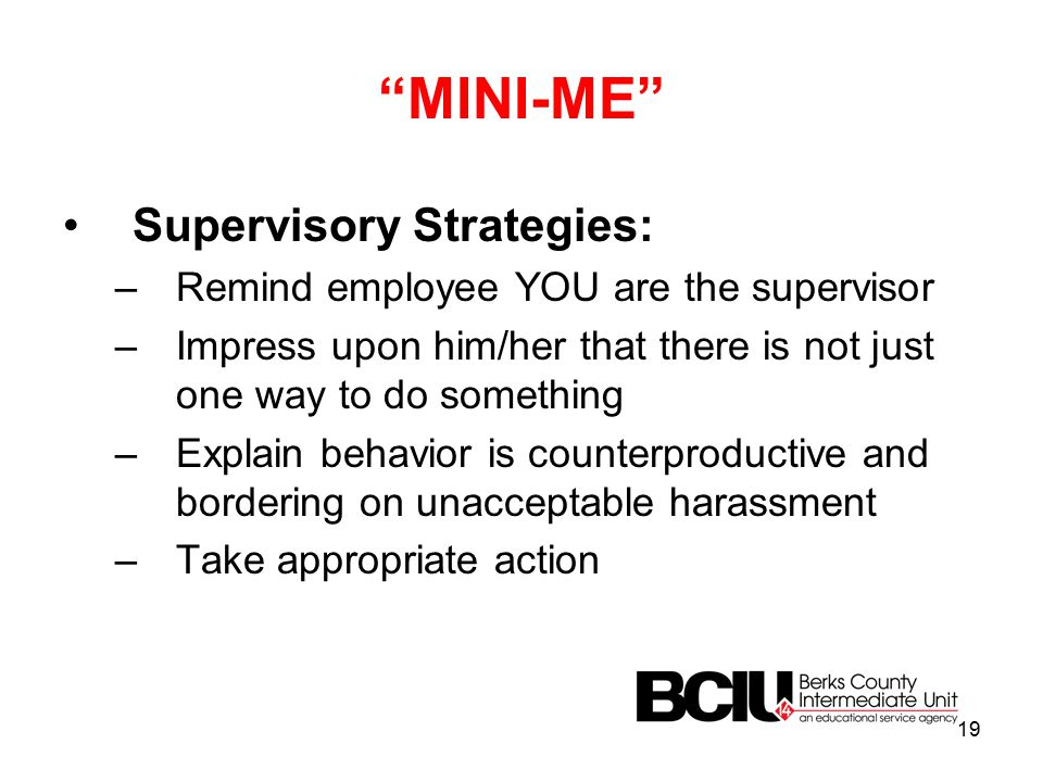 MINI-ME Supervisory Strategies: –Remind employee YOU are the supervisor –Impress upon him/her that there is not just one way to do something –Explain behavior is counterproductive and bordering on unacceptable harassment –Take appropriate action 19