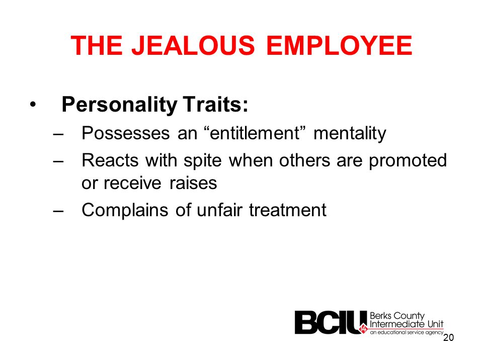 THE JEALOUS EMPLOYEE Personality Traits: –Possesses an entitlement mentality –Reacts with spite when others are promoted or receive raises –Complains of unfair treatment 20