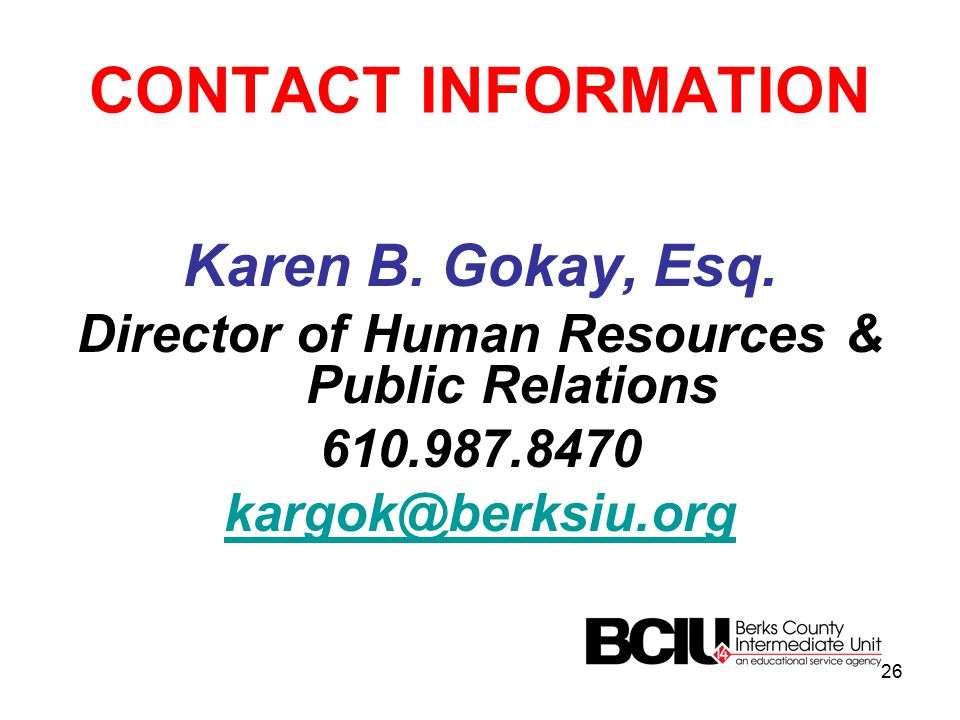 CONTACT INFORMATION Karen B. Gokay, Esq.