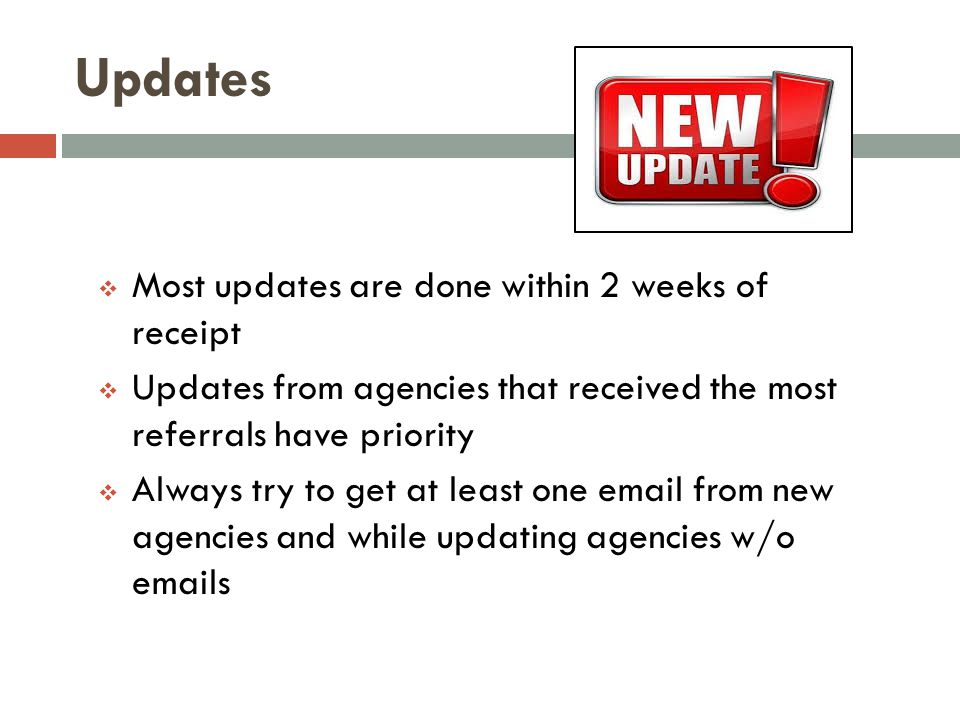 Updates  Most updates are done within 2 weeks of receipt  Updates from agencies that received the most referrals have priority  Always try to get a