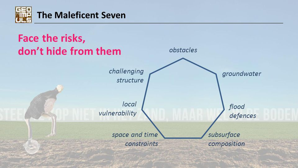 The Maleficent Seven Face the risks, don't hide from them local vulnerability challenging structure space and time constraints flood defences groundwater subsurface composition obstacles