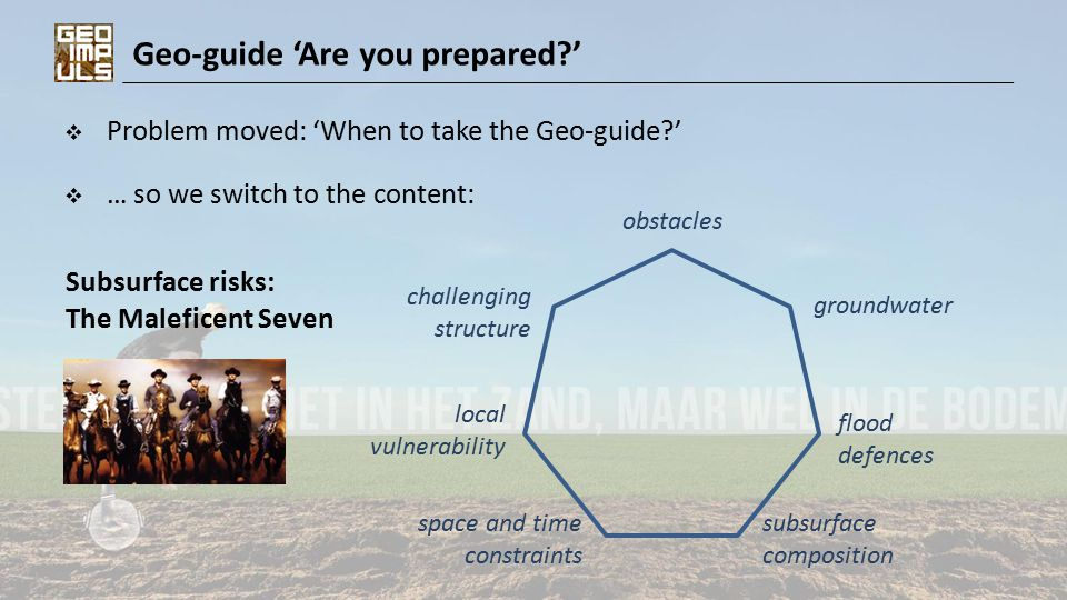 Geo-guide 'Are you prepared '  Problem moved: 'When to take the Geo-guide '  … so we switch to the content: local vulnerability challenging structure space and time constraints flood defences groundwater subsurface composition obstacles Subsurface risks: The Maleficent Seven