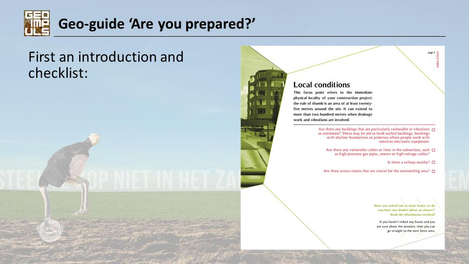 Geo-guide 'Are you prepared?' First an introduction and checklist: