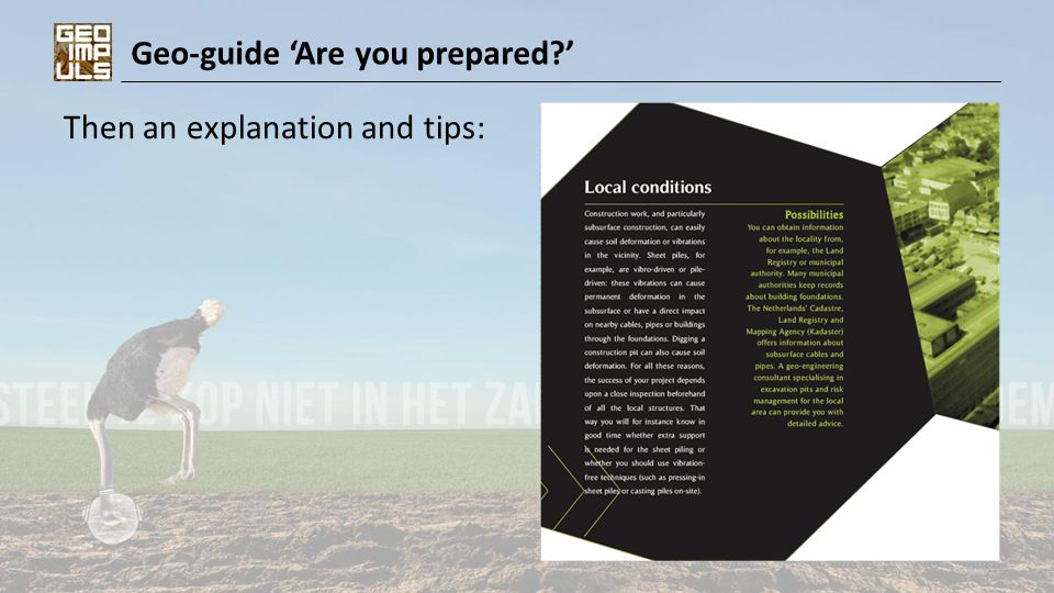 Geo-guide 'Are you prepared?' Then an explanation and tips: