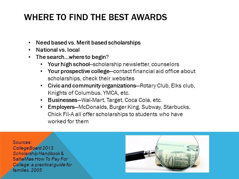 WHERE TO FIND THE BEST AWARDS Need based vs. Merit based scholarships National vs. local The search…where to begin? Your high school--scholarship news