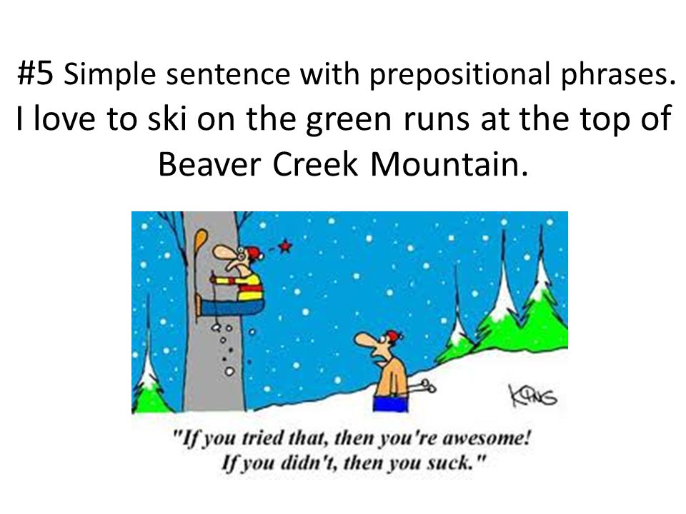#5 Simple sentence with prepositional phrases.