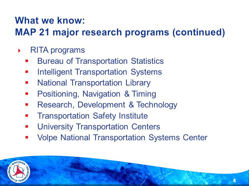  RITA programs  Bureau of Transportation Statistics  Intelligent Transportation Systems  National Transportation Library  Positioning, Navigation