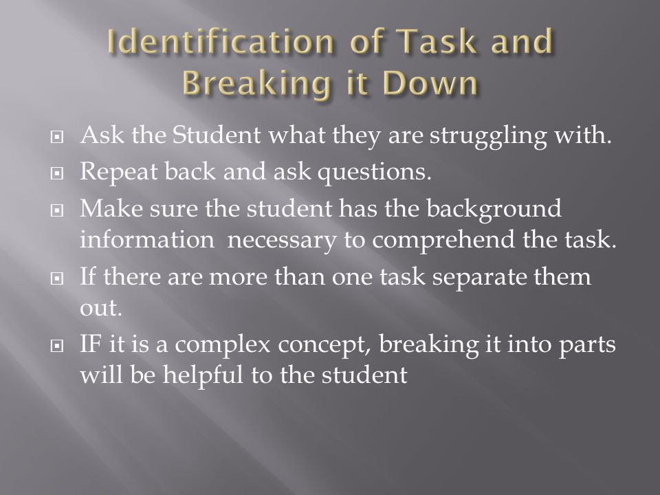  Ask the Student what they are struggling with.  Repeat back and ask questions.