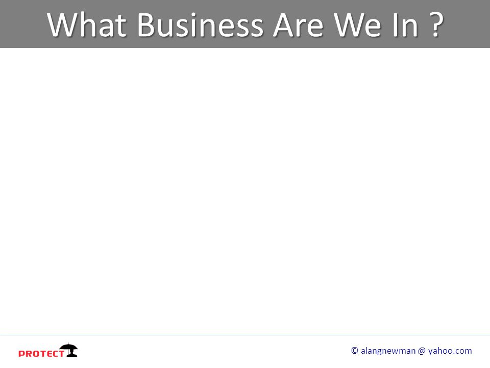 What Business Are We In ? © alangnewman @ yahoo.com
