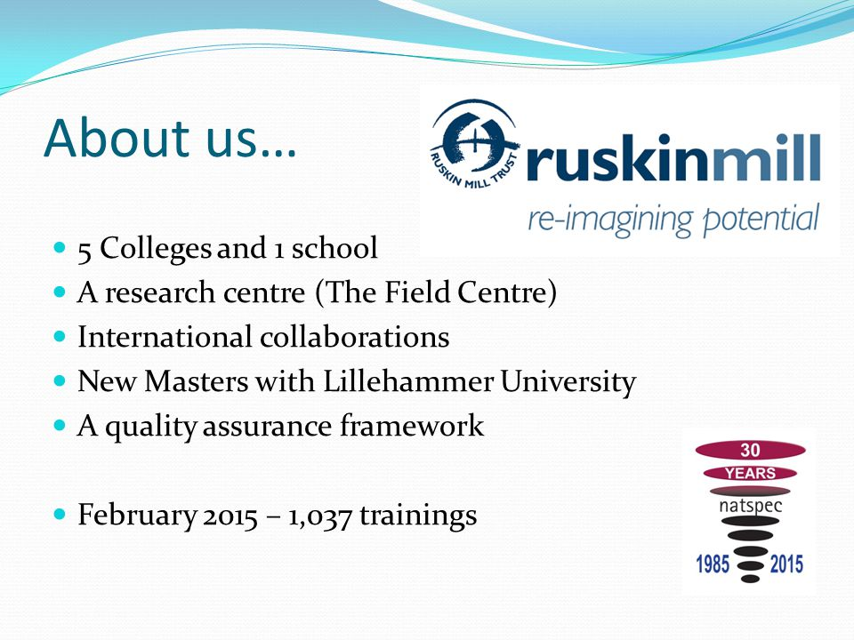 About us… 5 Colleges and 1 school A research centre (The Field Centre) International collaborations New Masters with Lillehammer University A quality