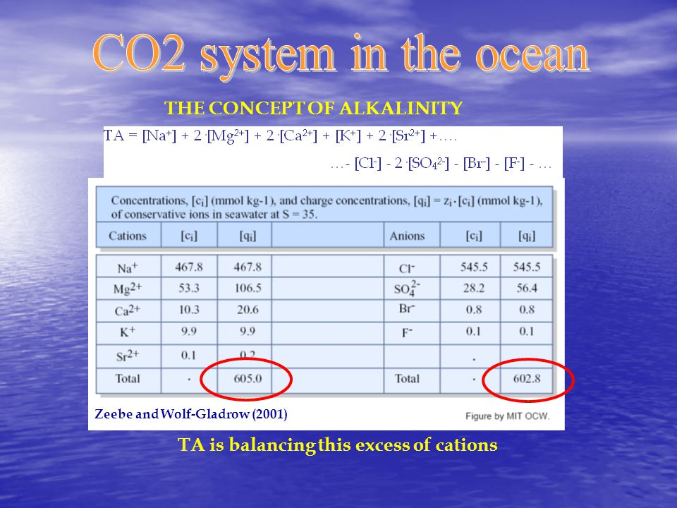 THE CONCEPT OF ALKALINITY Zeebe and Wolf-Gladrow (2001) TA is balancing this excess of cations