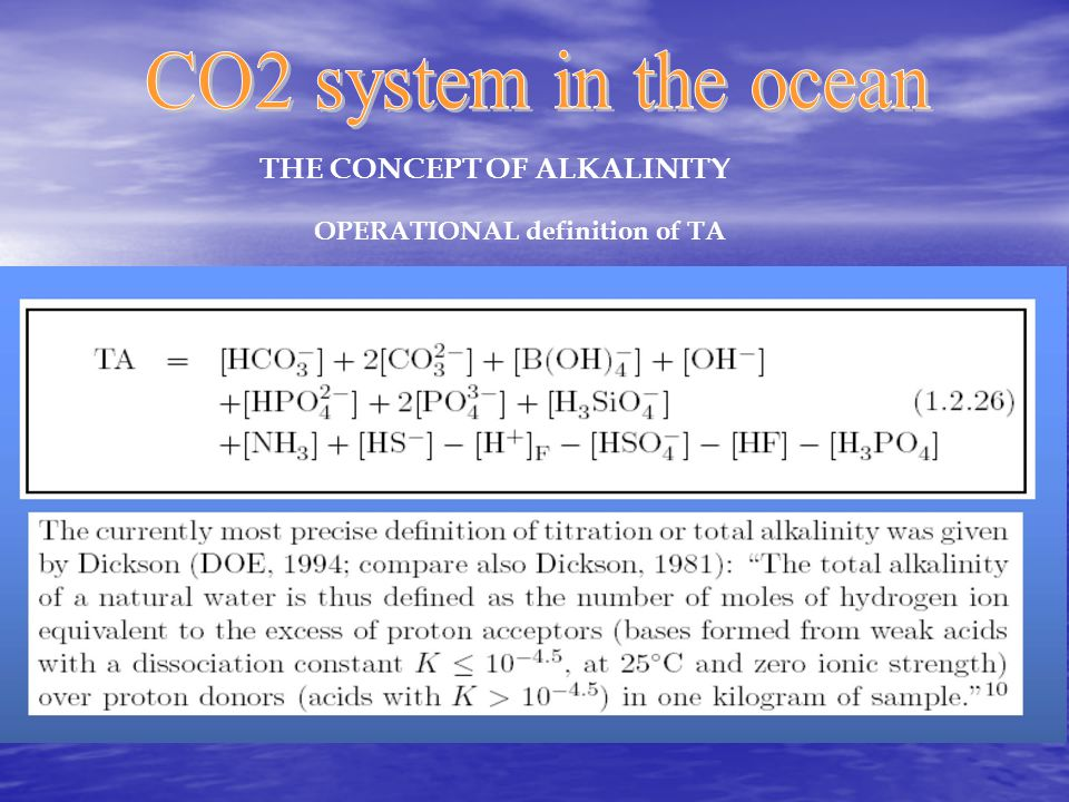 THE CONCEPT OF ALKALINITY OPERATIONAL definition of TA