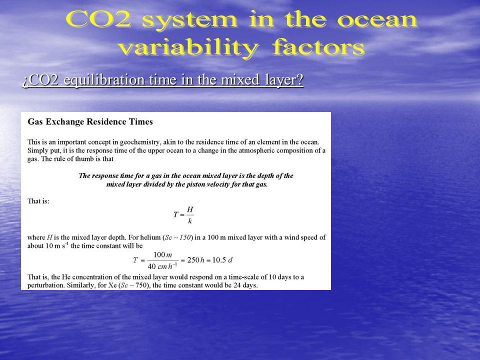 ¿CO2 equilibration time in the mixed layer