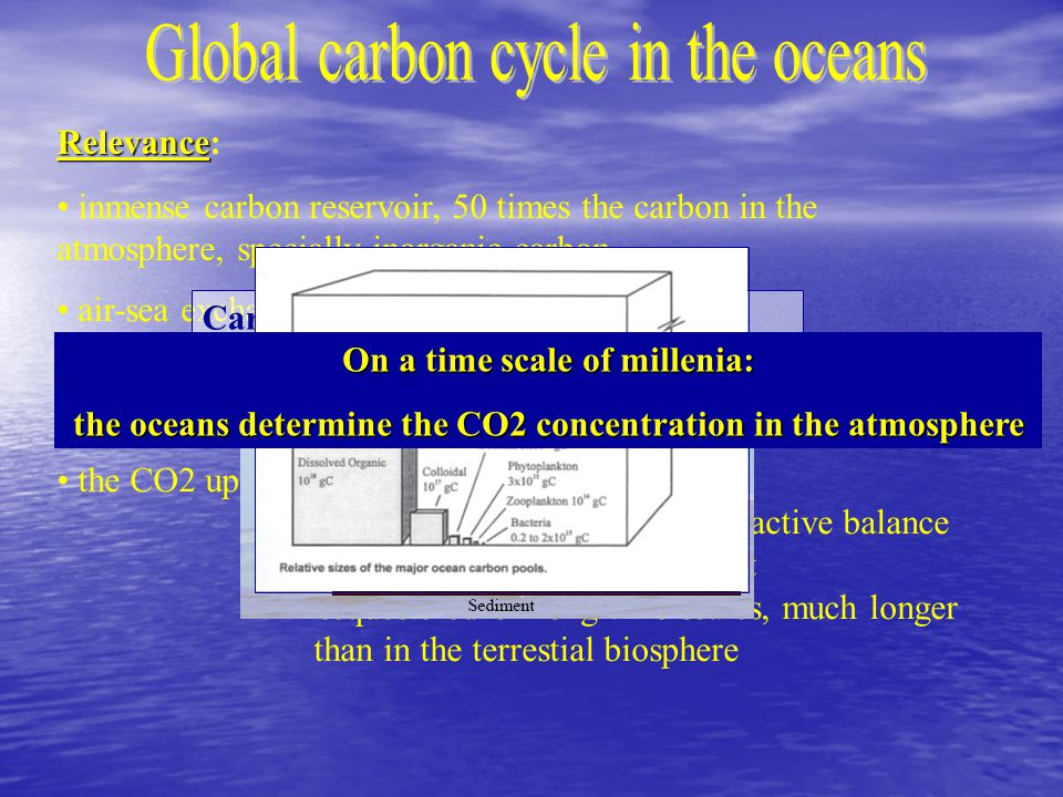 Relevance Relevance: inmense carbon reservoir, 50 times the carbon in the atmosphere, specially inorganic carbon air-sea exchange of CO2 is relatively quick the oceans absorb between 26 and 44% of the anthropogenic CO2 driven into the atmosphere the CO2 uptaken by the ocean: => it does not affect the earth radiactive balance => mitigates the greenhouse effect => sequestered on long time scales, much longer than in the terrestial biosphere Carbon accumulation on real scales Antia, NATO Summer School, Ankara, 2006 On a time scale of millenia: the oceans determine the CO2 concentration in the atmosphere