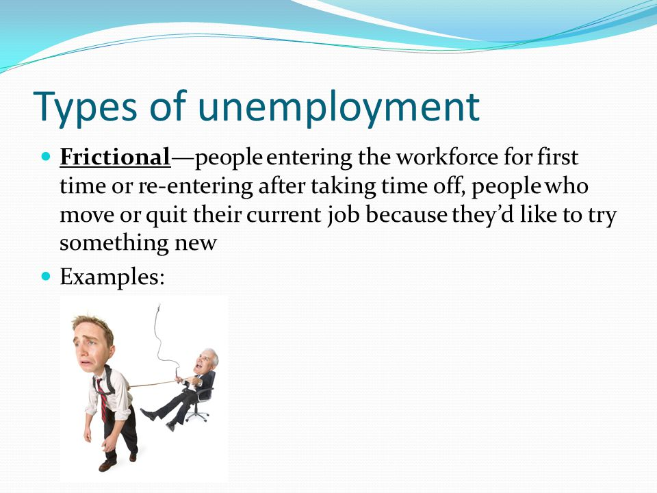 Types of unemployment Frictional—people entering the workforce for first time or re-entering after taking time off, people who move or quit their curr