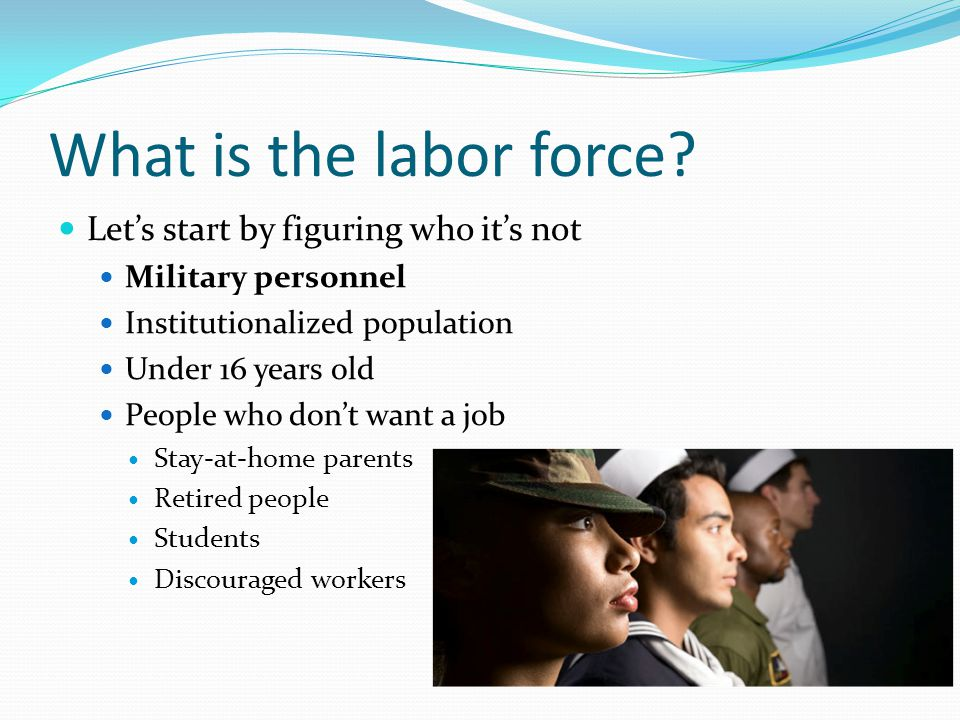 What is the labor force? Let's start by figuring who it's not Military personnel Institutionalized population Under 16 years old People who don't want