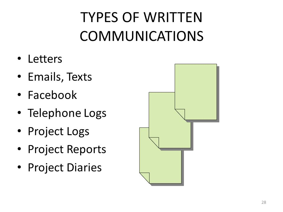 TYPES OF WRITTEN COMMUNICATIONS Letters Emails, Texts Facebook Telephone Logs Project Logs Project Reports Project Diaries 28