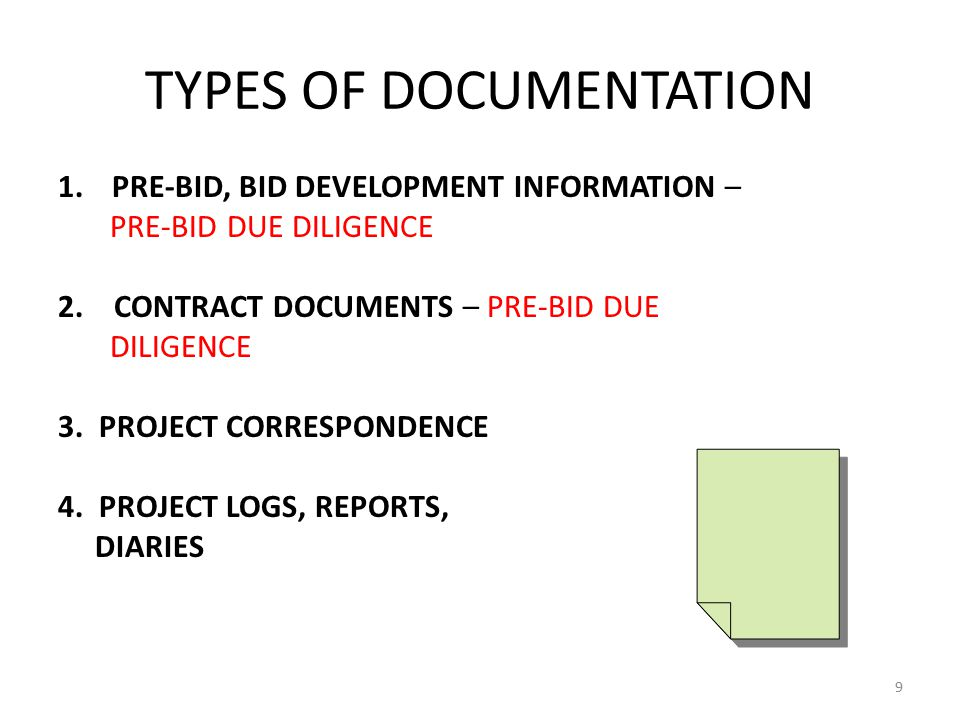 TYPES OF DOCUMENTATION (CON'T) 5. COST DATA 6. SCHEDULES 10