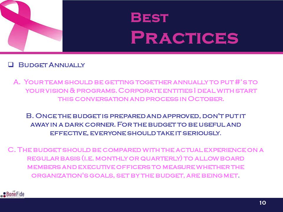 Best Practices 10  Budget Annually A.Your team should be getting together annually to put #'s to your vision & programs.