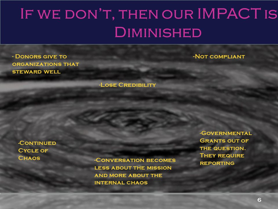 6 If we don't, then our IMPACT is Diminished - Not compliant - Donors give to organizations that steward well - Continued Cycle of Chaos -Governmental Grants out of the question.