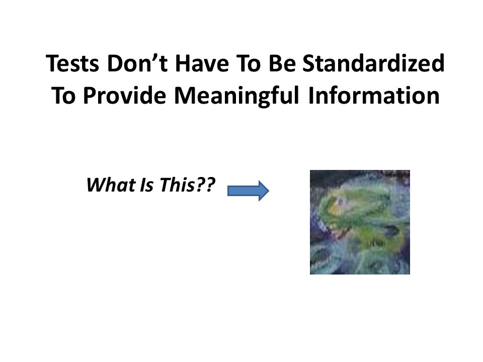 Tests Don't Have To Be Standardized To Provide Meaningful Information What Is This