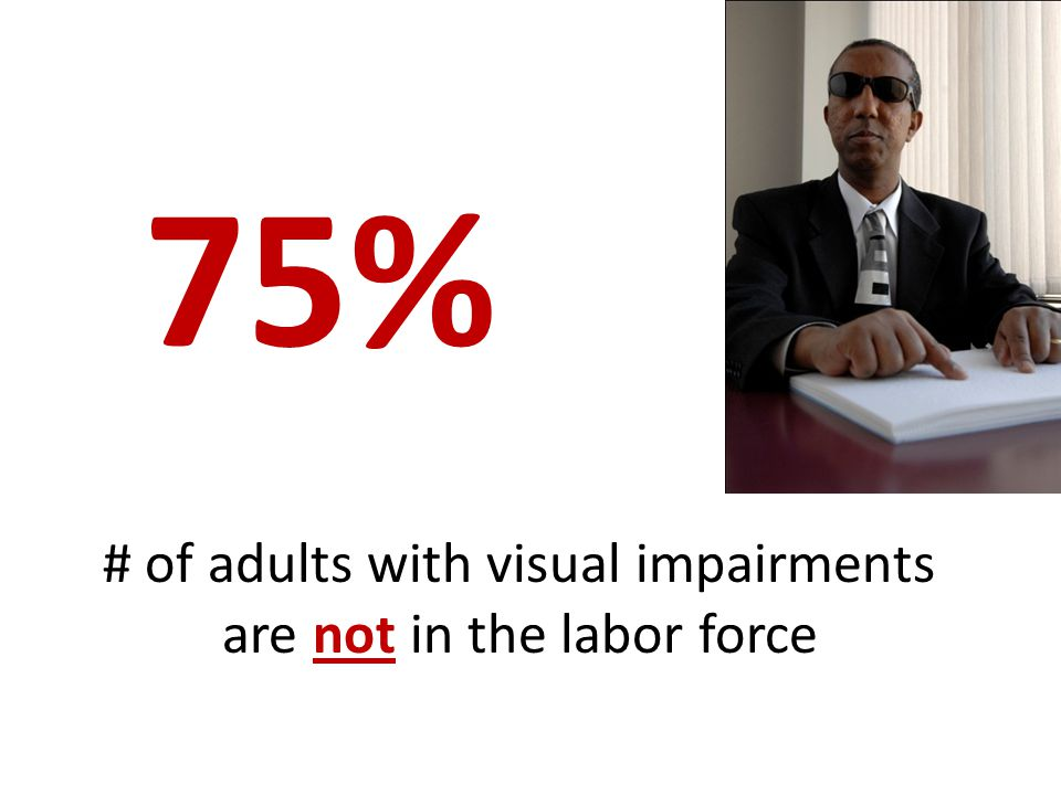 # of adults with visual impairments are not in the labor force 75%