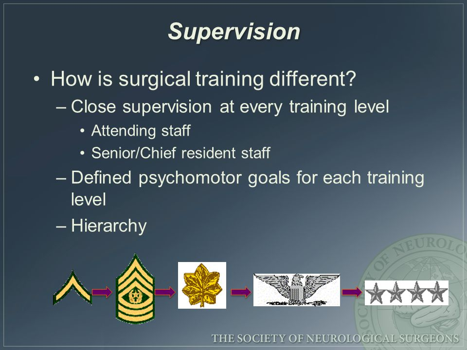 Supervision How is surgical training different.