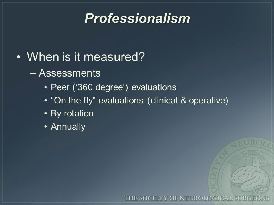 Professionalism When is it measured.