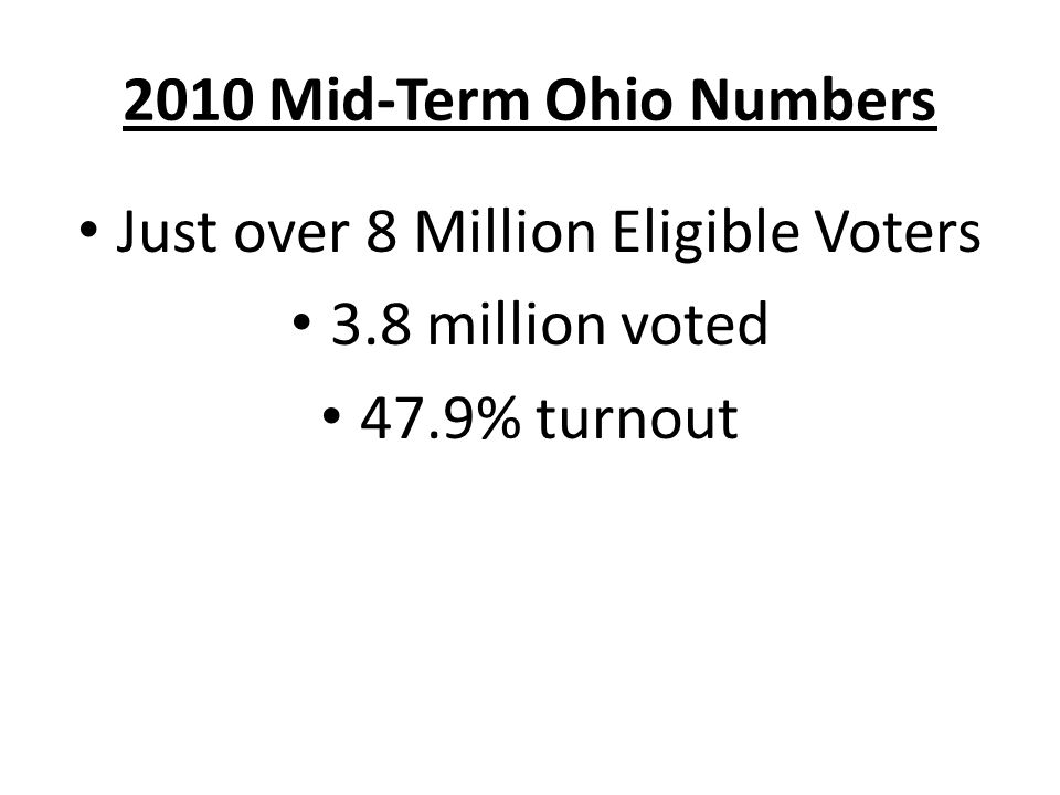 2010 Mid-Term Ohio Numbers Just over 8 Million Eligible Voters 3.8 million voted 47.9% turnout