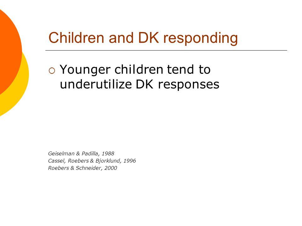 Children and DK responding  Younger children tend to underutilize DK responses Geiselman & Padilla, 1988 Cassel, Roebers & Bjorklund, 1996 Roebers &