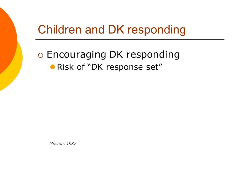 """Children and DK responding  Encouraging DK responding Risk of """"DK response set"""" Moston, 1987"""
