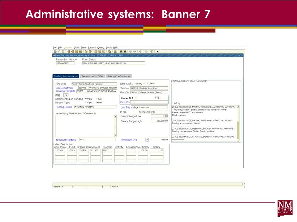 Administrative systems: Banner 7