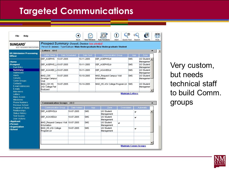 Targeted Communications Very custom, but needs technical staff to build Comm. groups