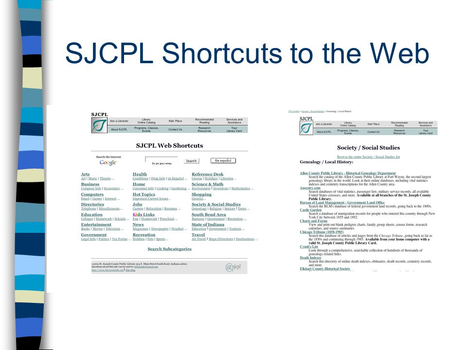 Subject List Librarian selected websites Led patrons away from the library website and library materials Database driven - Lasso –Librarians input URLs –Quirky