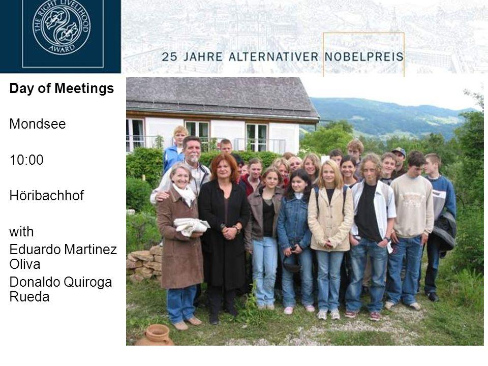 Day of Meetings Mondsee 10:00 Höribachhof with Eduardo Martinez Oliva Donaldo Quiroga Rueda