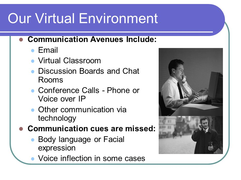 Our Virtual Environment Communication Avenues Include: Email Virtual Classroom Discussion Boards and Chat Rooms Conference Calls - Phone or Voice over
