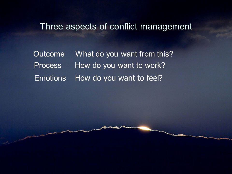 Three aspects of conflict management Outcome What do you want from this? Process How do you want to work? Emotions How do you want to feel?
