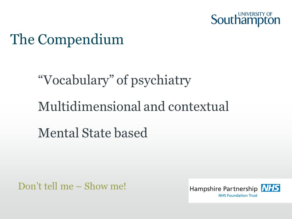 Vocabulary of psychiatry Multidimensional and contextual Mental State based Don't tell me – Show me.