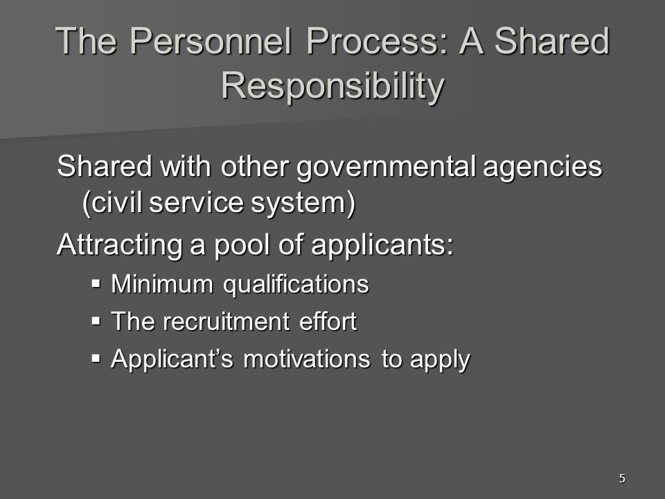 5 The Personnel Process: A Shared Responsibility Shared with other governmental agencies (civil service system) Attracting a pool of applicants:  Min