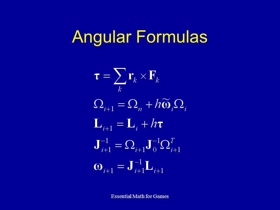 Essential Math for Games Angular Formulas